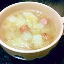 野菜たっぷり!キャベツとソーセージの和風スープ♪