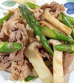 豚肩ロース、アスパラ、エリンギの炒め物