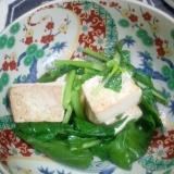 小松菜豆腐チキンスープの素ツナ油炒め
