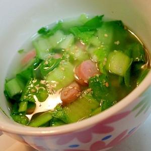 チンゲン菜とウインナーの中華スープ