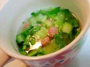 青梗菜とウインナーの中華スープ♬