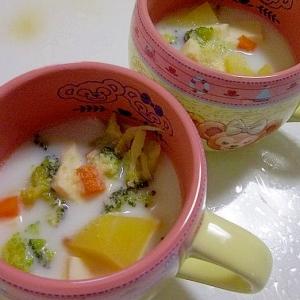 ツナと豆腐と根菜の牛乳スープ