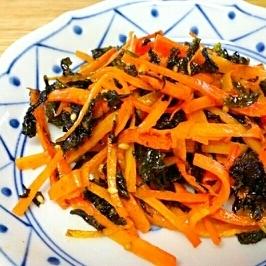 超簡単!韓国のりと人参の炒め物