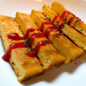 豆腐とパン粉のフワフワ卵焼き
