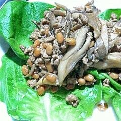 豚ひき肉と舞茸の納豆炒め