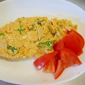 鶏ハムとピーマンのマヨ生姜味卵焼き