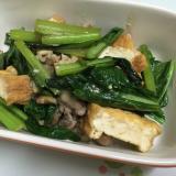 豚肉と小松菜と厚揚げ 麺つゆで簡単炒め煮