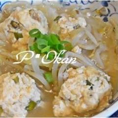 ダイエットに♪鶏肉と豆腐の肉団子とモヤシの煮物