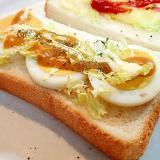 マスタード/マヨで ゆで卵とレタサイのトースト