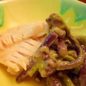 わらびと筍のからし酢味噌和え