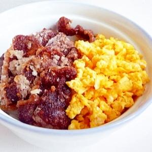 牛肉の天ぷらと玉子そぼろ丼