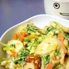 ちくわと水菜のたまご炒め
