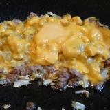ひき肉キャベツ炒めチーズ乗せ