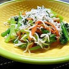 白だしで簡単!小松菜としらすの和え物