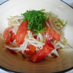 もやしとトマトの梅シソ酢の物