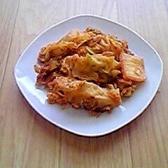 簡単☆餃子とキムチの卵炒め