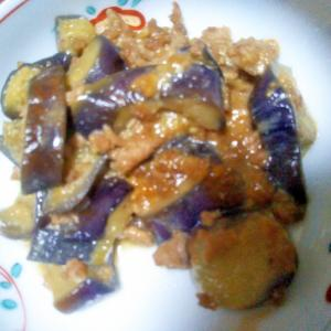 ナスと鶏ひき肉の味噌煮