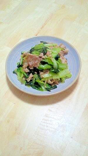 豚肉とターサイのオイスターソース炒め