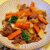 牛肉・葱・ブロッコリー・にんじんで青椒肉絲風