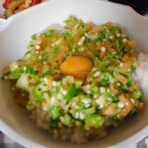 漬け物おくら卵かけご飯