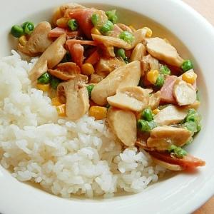 ダシダで簡単❤エリンギあんかけ丼♪(冷凍食品ほか)