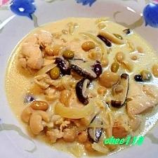 豆乳でカスレ風スープ