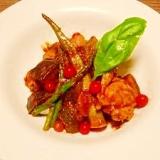 鶏肉と夏野菜☆トマトソース煮