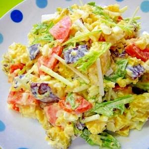 さつまいもと水菜玉ねぎのサラダ