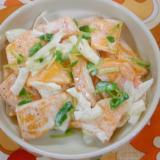 柿・玉ねぎ・とうみょうのサラダ