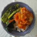 キムチと小松菜のナムルの卵納豆ご飯⭐