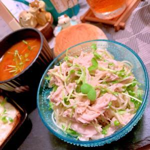 鶏ささ身と豆苗の胡麻マヨカッペリーニ
