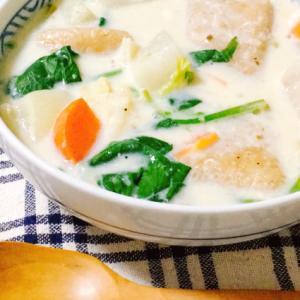 玄米餅の豆乳味噌スープ
