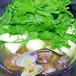 豆腐とあさりの水菜鍋