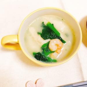 【糖質制限】のび〜る♡おから餅入り鶏白湯スープ