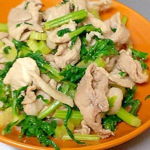 セロリと豚肉の簡単めんつゆ炒め