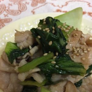 豚薄切り肉と青梗菜の甘辛生姜焼き
