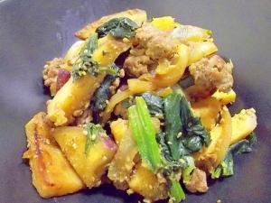 鉄分&食物繊維*さつま芋とほうれん草の豚味噌炒め*