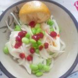 キャベツ豆腐玉葱枝豆芥子ラー油ケチャップ檸檬サラダ