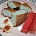 簡単 おつまみ ♪( ´▽`) 練り物に七味マヨ
