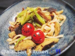 【焼きうどん】明太子舞昆と秋茄子の焼きうどん