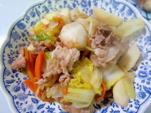 豚肉と蕪と人参の白菜葱中華炒め