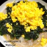 菜の花畑風*甘い炒り卵と春雨とワカメの酢の物