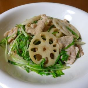 レンコンと豚肉の柚子コショウ炒め
