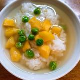 薩摩芋とグリーンピースの出汁茶漬け