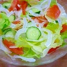 レタス・トマト・きゅうり・新玉ねぎのサラダ♪