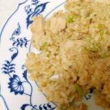 鶏肉と大根葉のわさび醤油玄米チャーハン