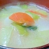 チンゲン菜と大根と人参の味噌汁