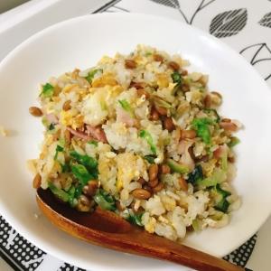 栄養満点♡納豆オクラ炒飯