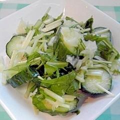 塩レモンで、きゅうりと水菜の浅漬け♪