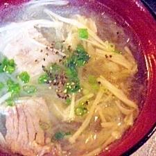 牛スジとエノキと春雨のスープ